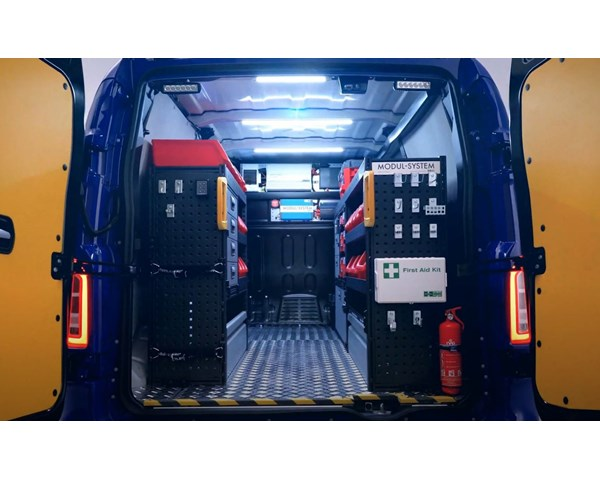 LEVC VN5 equipped with Modul-System van racking